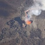 Survol du piton de la Fournaise en éruption, 12 février 2017